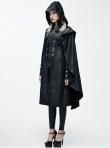 Steam Punk Gothic Palace Style Black Stand Collar Medium Length Hooded Coat For Women