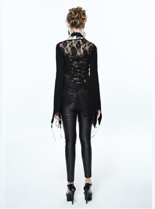 Steam Punk Gothic Doing Old Slim Fit Hollow Out Backless Long Sleeve T-shirt For Women
