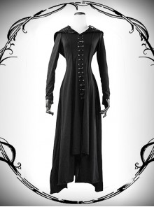 Punk Gothic Nobleman Priestess Irregular Lower Hem Hooded Dress