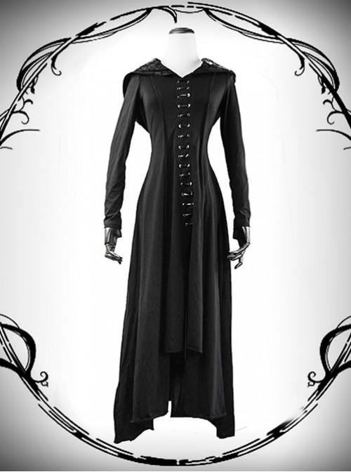 Punk Gothic Nobleman Priestess Irregular Lower Hem Hooded Dress