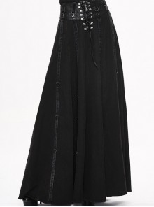 Steam Punk Gothic Black High Waist Binding Band A-line Skirt