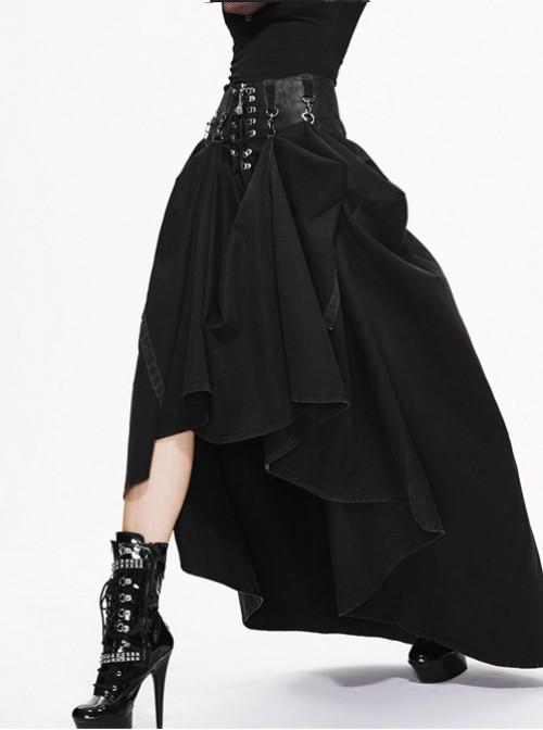 Steam Punk Gothic Black High Waist Binding Band A-line Skirt