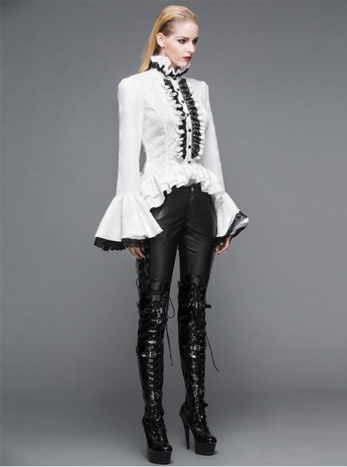 Steam Punk Gothic Palace Style Lotus Leaf Sleeves Slim Fit Stand Collar Shirt For Women