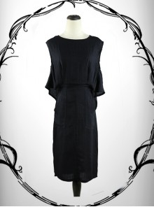 Black Cotton-linen Slim Fit Medium Length Sleeveless Dress Cheap Dress