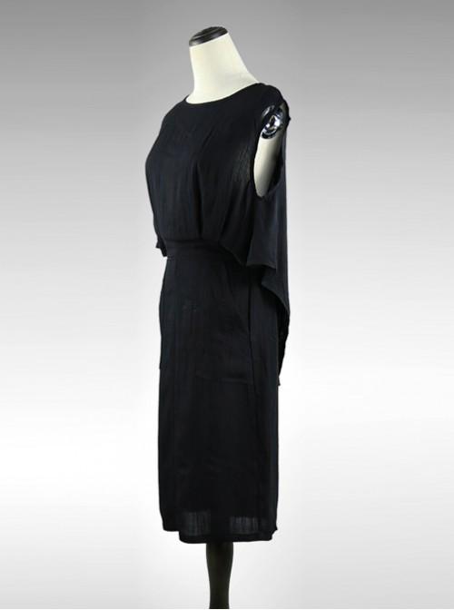 Black Cotton-linen Slim Fit Medium Length Sleeveless Dress Dress