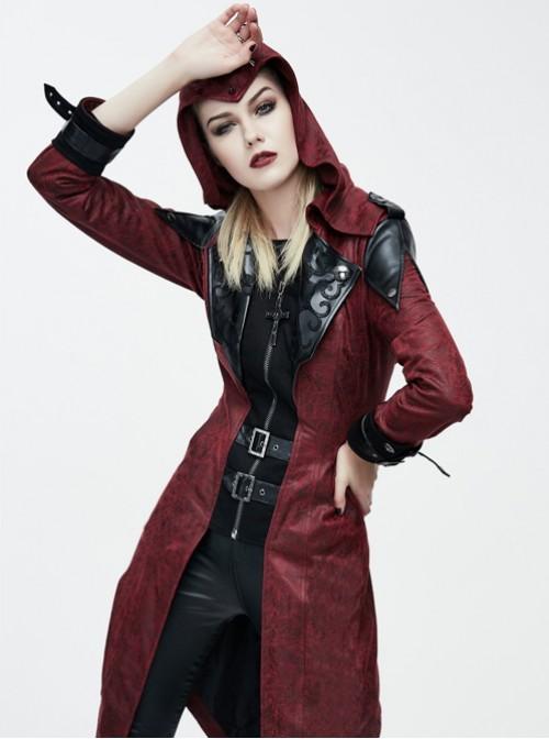 Steam Punk Gothic Vampire Priest Stand Collar Long Windbreaker For Women