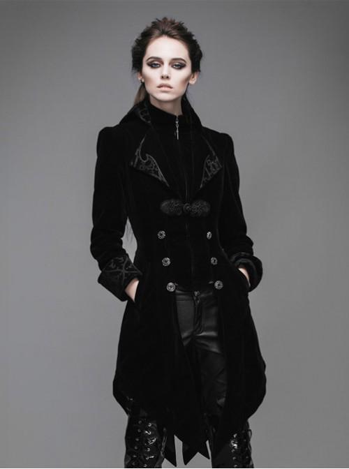 Steam Punk Gothic Medium Length Slim Fit Women's Velveteen Tuxedo