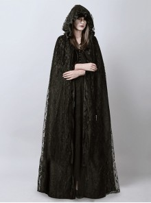 Steam Punk Gothic Dark Mystical Sacrifice Black Lace Women's Long Cloak
