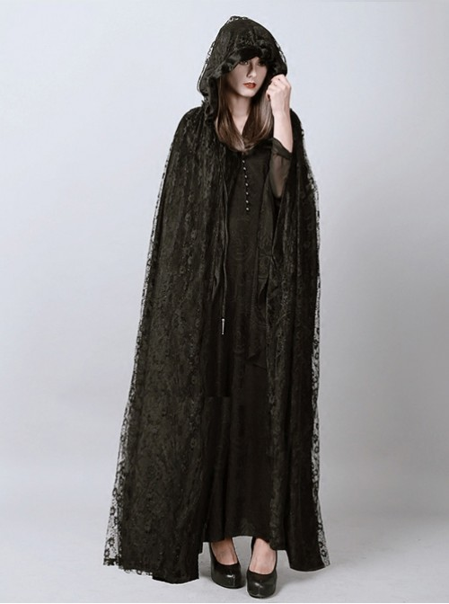 Steam Punk Gothic Dark Mystical Sacrifice Black Lace Women's Long Cloak