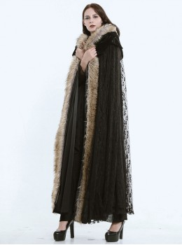 Steam Punk Gothic Dark Mystical Sacrifice Fur Collar Black Lace Women's Long Cloak