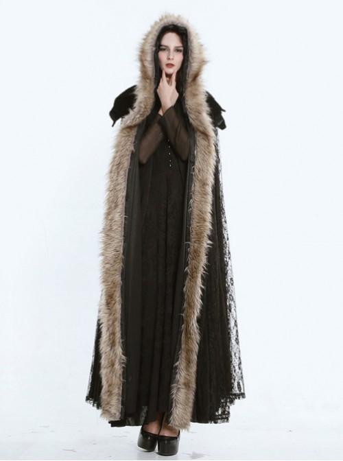Steam Punk Gothic Dark Mystical Sacrifice Fur Collar Black Lace Women's Long Cloak
