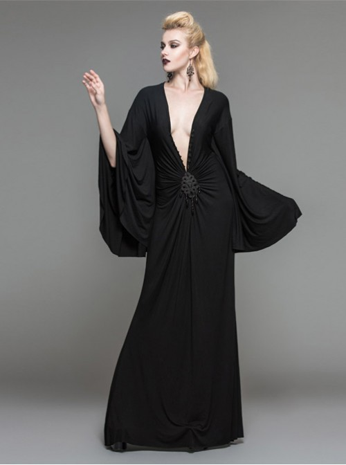 Palace Style Gothic Nobleman Black Deep V Collar High Waist Dress