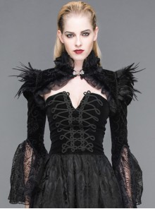 Gothic Palace Style Black Lace Feather Stand Collar Lotus Leaf Sleeve Super Short Shawl