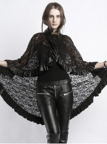 Punk Gothic Style Black Lace Stand Collar Women's Shawl