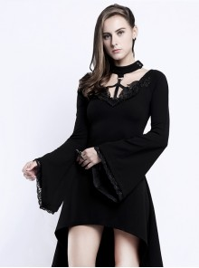 Punk Gothic Flare Sleeve Knitted Halterneck Black Medium Length Dress