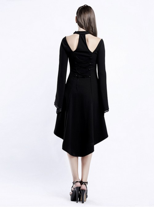 Punk Gothic Flare Sleeve Knitted Halterneck Black Medium Length Dress
