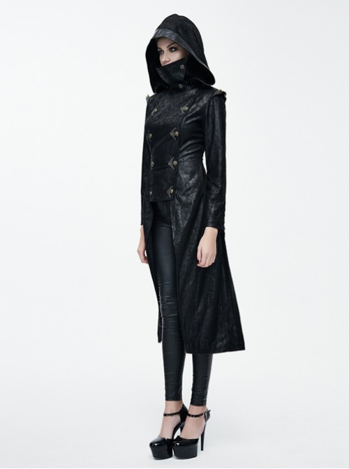 Punk Dark Detachable Hat Hooded Tuxedo Women's Medium Length Windbreaker