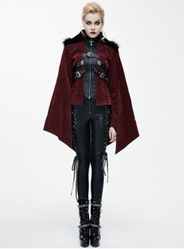Gothic Irregular Bat Type Cloak Women's Thickened Hooded Coat