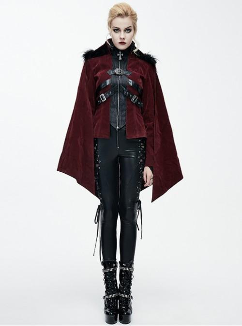 Gothic Irregular Bat Type Cloak Women's Thickened Hooded Coat