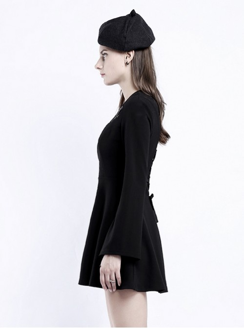 Punk Gothic Black Hanging Neck High Waist Slim Fit Long Sleeve Dress