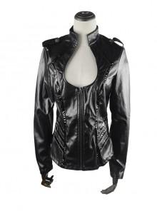 Punk Black Sexy Low-cut Thin Military Uniform Leather Jacket