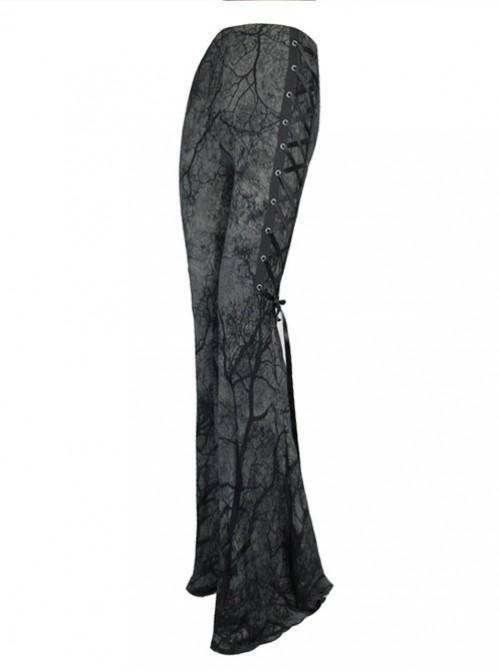 Steam Punk Gothic Dark Tree Pattern Bell-bottomed Pants