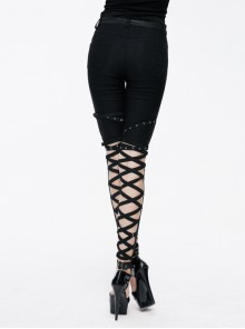 Punk Black Cross Binding Bands Slim Fit Sexy Pencil Pants