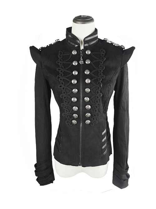 Gothic Black Embroidery Metal Military Uniform Clasp Stand Collar Slim Fit Short Jacket For Women