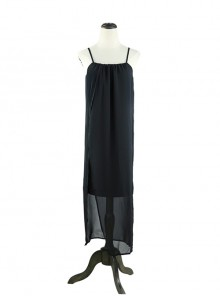 Gothic Holiday Style Loose Black Chiffon Sling Dress