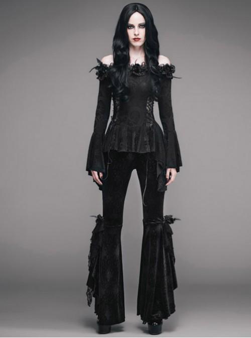 Punk Black Strapless Flare Sleeve Slim Fit Long Sleeve T-shirt