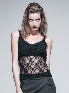 Steam Punk Sexy Straps Black Lace Vest