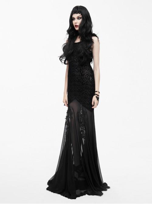 Punk Gothic Elegant Sexy Translucent Backless Dress