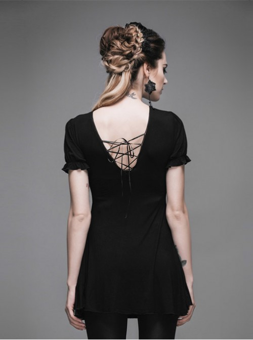 Steam Punk Gothic Lace Embroidery Long-style T-shirt Short Sleeve Short-style Dress