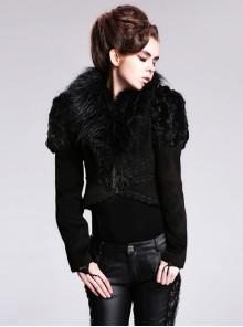 Steampunk Gothic Plus Velveteen Black Slim Woollen Cloth Short Coat