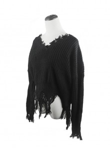 Gothic Black Decadent Tattered Tassel Long Sleeve Short Sweater