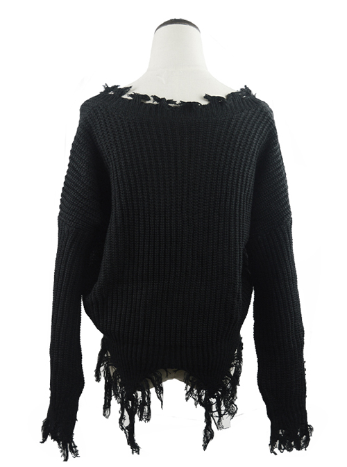 Gothic Black Decadent Tattered Tassel Long Sleeve Short Sweater