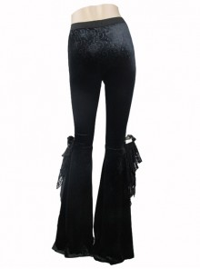 Punk Gothic Black Womens Slim Leisure Flared Trousers