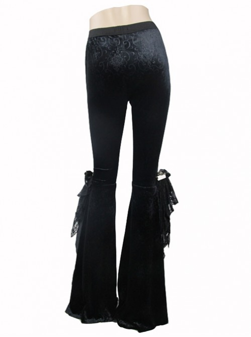 Punk Gothic Black Womens Slim Leisure Flared Trousers