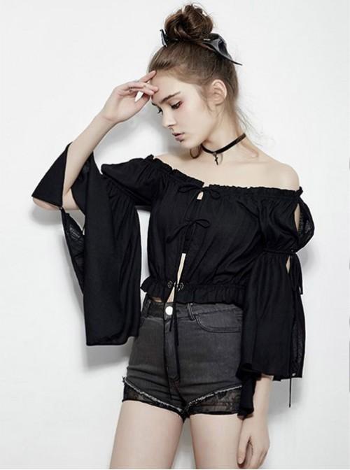 Gothic Black Flare Sleeve Off-shoulder Short Sleeve Shirt