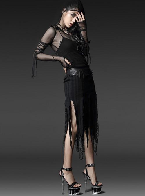 Punk Vision Black Elastic Denim Jacquard Torn Skirt