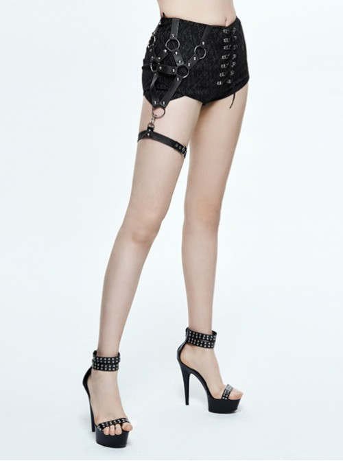 Steampunk Gothic Vision Slim Black Lace-up Hot Pants