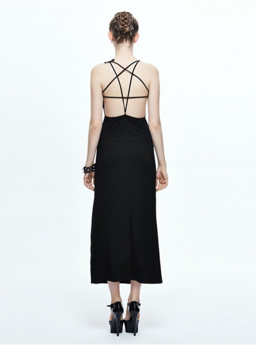 Steampunk Gothic Black Concise Sexy Sling Backless Dress