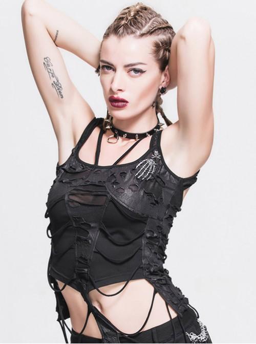 Gothic Black Sling Sexy Tearing Sleeveless Garment