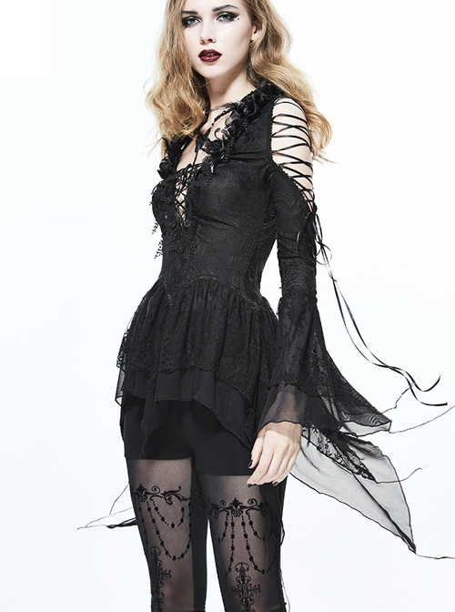 Sexy Off Shoulder Lace-up Slim Gothic Long Sleeve T-shirt