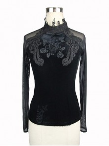 Black Embroidered Slim High Collar Retro Gothic Women' Long Sleeve T-shirt