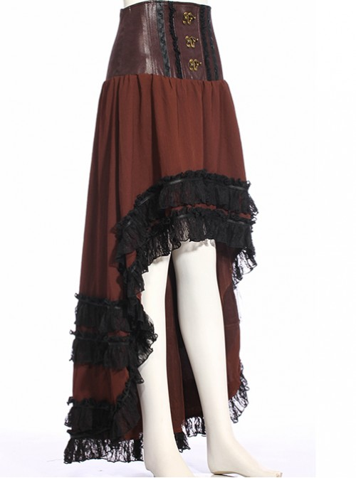 Steampunk Irregular Front Short After Long High Waist Lace-up Skirt