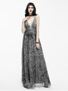 Queen Silver Low V-neck Silk Sling Long Dress