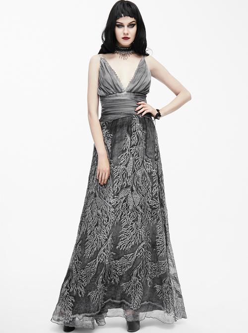 Queen Silver Low V-neck Silk Sling Long Dress