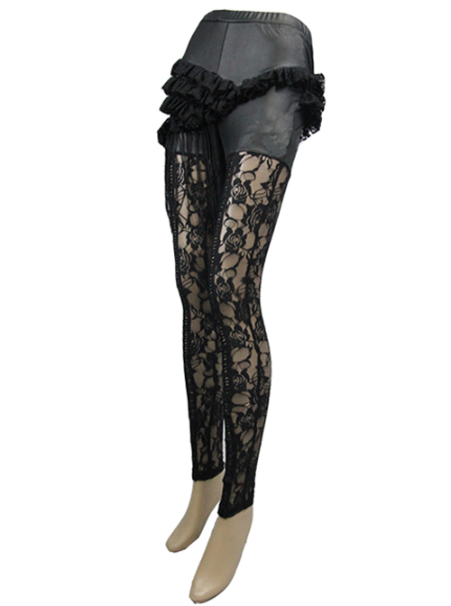 Steampunk Gothic Black Hollowed Out Lace Fake Two Pieces Leggings