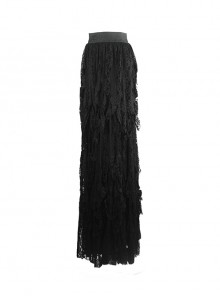 Gothic Retro Black Lace Embroidery Big Hem Long Skirt